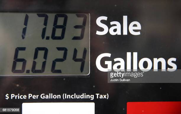 The price of gasoline is displayed on a gas pump at a gas station on May 10 2017 in San Rafael California California Gov Jerry Brown is set to...
