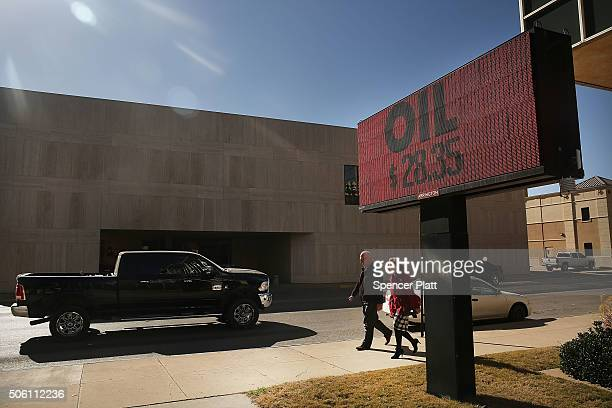 The price of oil and rig count is displayed downtown on January 21 2016 in the oil town of Midland Texas Despite recent drops in the price of oil...