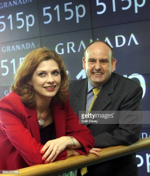 The pricing of Granada Media photograph shows Samantha Giles who plays Bernice Blackstock in Emmerdale with Chairman Charles Allen London 11th July...