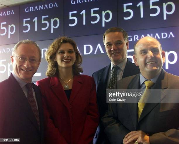 The pricing of Granada Media photograph shows Steve Morrison Chief Executive Samantha Giles who plays Bernice Blackstock in Emmerdale Henry Staunton...