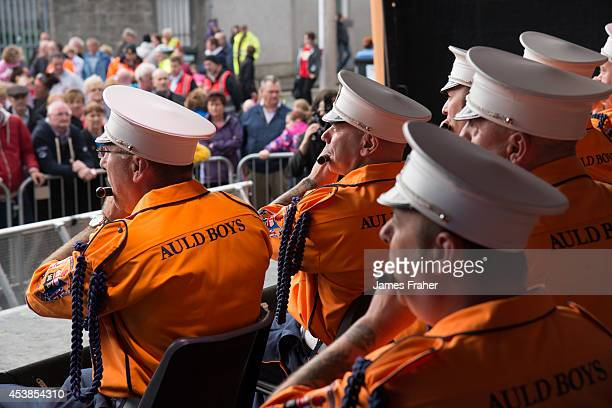 The Pride of the Orange and Blue Auld Boys Flute Band perform on stage at the Fleadh Cheoil 2014 Day 8 at the Gig Rig on August 17 2014 in Sligo...