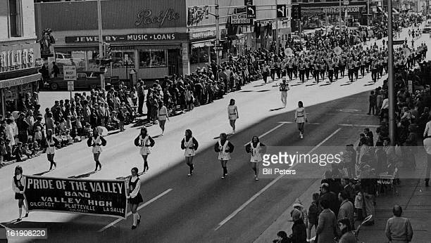 MAR 14 1970 MAR 15 1970 The Pride Of The Valley Marching Band Struts Down Denver's 15th St As Honor Band In St Patrick's Day Parade The band members...