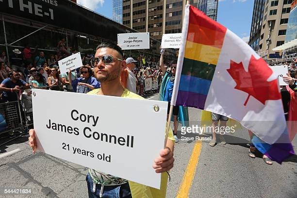 TORONTO ON JULY 3 The Pride parade was dedicated to the 49 people that lost their lives at the Pulse Nightclub in Orlando during the 2016 Toronto...