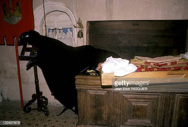 The Priest And The Chest In France In 1987 The abbot has a big trunk where he puts his surplice a Country Priest Father Montgomery Quintin Wright of...