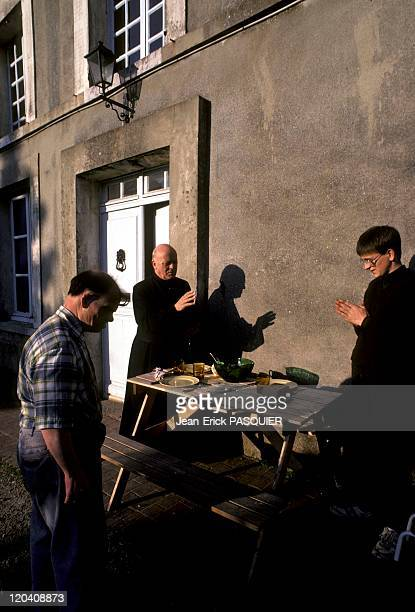The Priest Blesses Dinner In France In 1987 Benediction du dîner en compagnie de Christian le bedeau et d'un enfant de ch'ur de passageUn cure de...