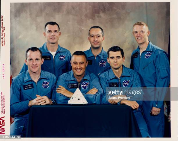 The prime and backup crews of NASA's Apollo 1 mission at the Johnson Space Center Houston Texas 1st April 1966 From left to right front are the prime...