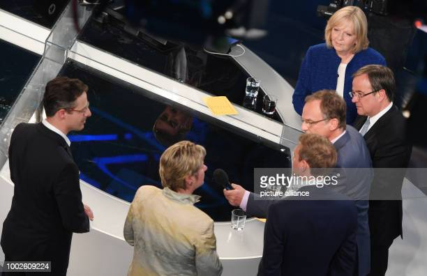 The prime candidates Hannelore Kraft Armin Laschet presenter Frank Plasberg Christian Lindner Sylvia Loehrmann and Markus Pretzell pictured after the...