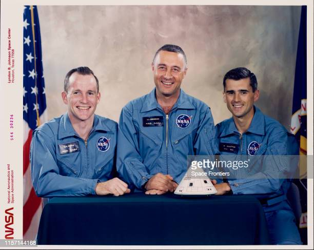 The prime crew of NASA's Apollo 1 mission at the Johnson Space Center Houston Texas Edward H White II Virgil I 'Gus' Grissom and Roger B Chaffee 1st...