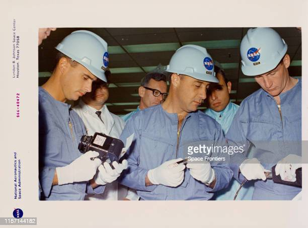 The prime crew of NASA's Apollo 1 mission inspect equipment during a tour of the North American Aviation's Downey Facility in California 24th June...