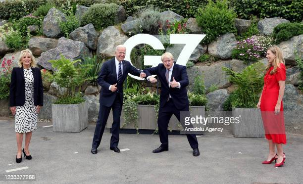 The Prime Minister Boris Johnson and his wife Carrie meet the US President Joe Biden and the First Lady Jill Biden in Carbis Bay Cornwall ahead of...