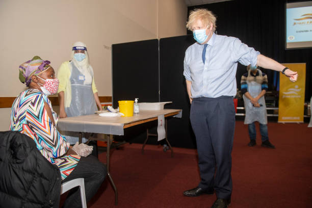 GBR: British PM Visits Vaccination Centre In North London