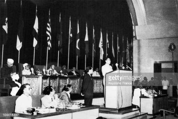 The Prime Minister Chou En Lai Of The Popular Republic Of China Attending The First AsiaAfrica Conference In Bandung In April 1955