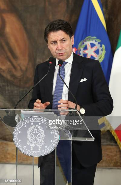 The Prime Minister Giuseppe Conte speaks after the council of ministers on April 18 2019 in Reggio Calabria Italy