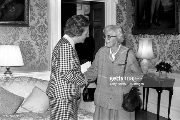 The Prime Minister greets her former tutor 78yearold Professor Dorothy Hodgkin before the luncheon for Nobel prizewinners given by Margaret Thatcher...