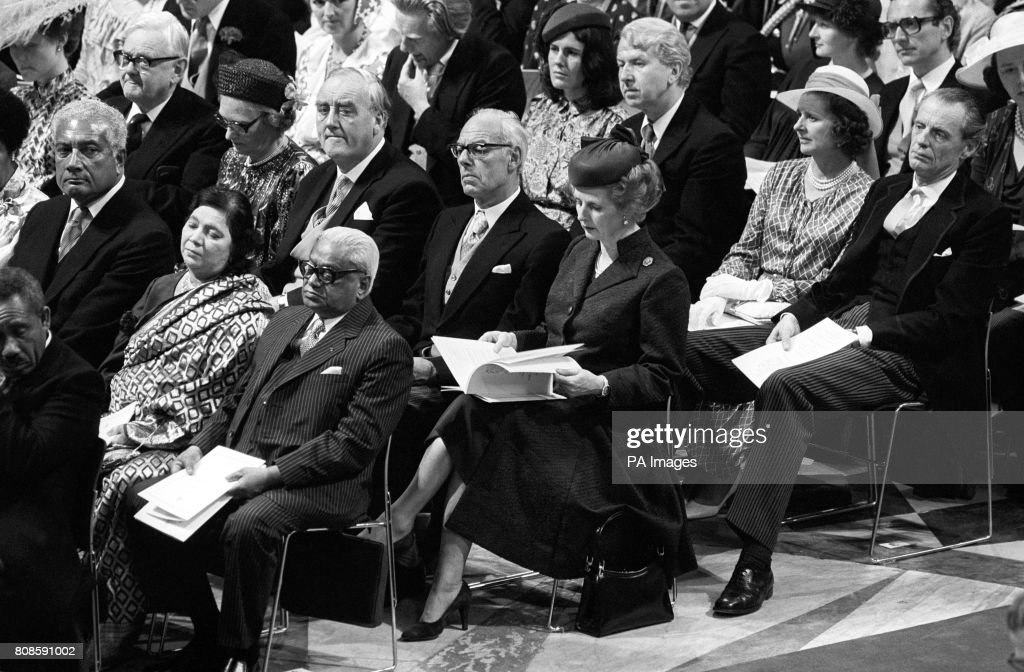 The Prime Minister Margaret Thatcher And Her Husband Denis Among Congregation At