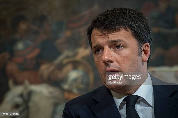 The Prime Minister Matteo Renzi during the press conference with the Prime Minister of the Grand Duchy of Luxembourg, Xavier Bettel at Palazzo Chigi...