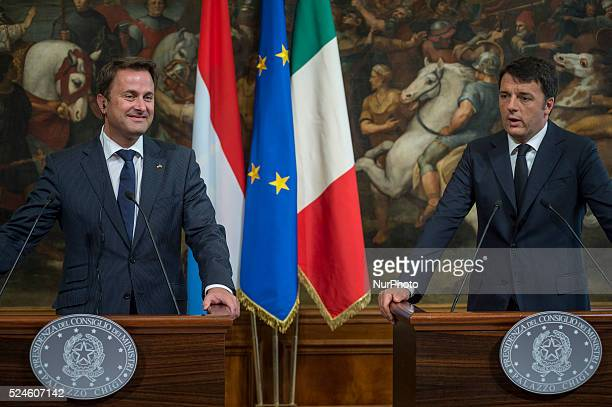 The Prime Minister Matteo Renzi receives the Prime Minister of the Grand Duchy of Luxembourg, Xavier Bettel, at Palazzo Chigi in Rome September 17,...