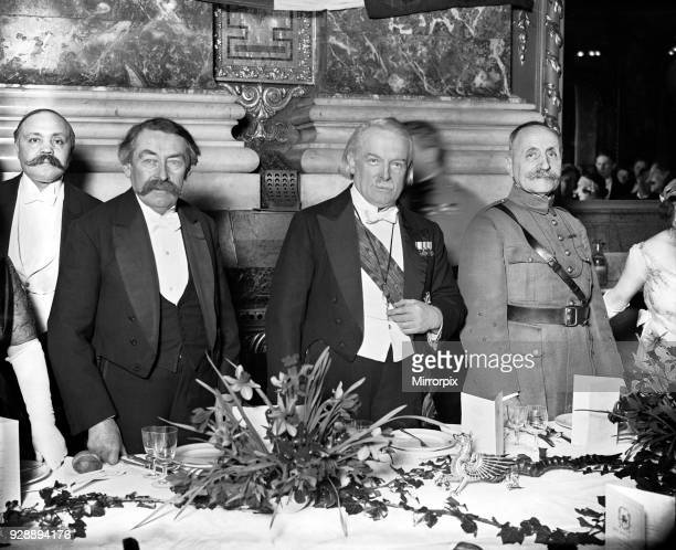 The Prime Minister Mr David Lloyd George at the Welsh National Banquet at Hotel Cecil with his French counterpart Monsieur Aristide Briand and...