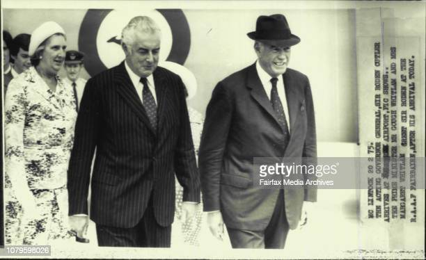 The Prime Minister Mr Gough Whitlam and Mrs Margaret Whitlam greet Sir Roden at the RAAF Fairbairn after his arrival todayThe acting governor General...