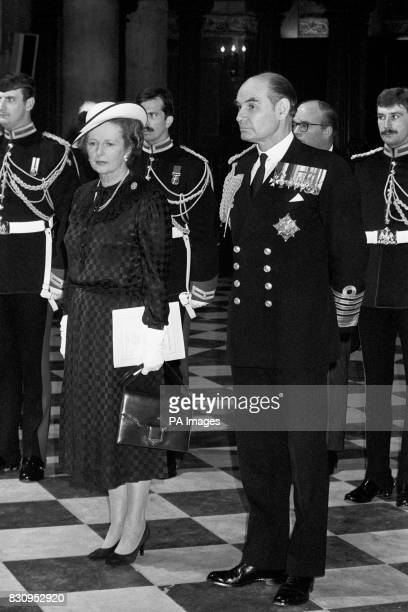 The Prime Minister Mrs Margaret Thatcher with Admiral of the Fleet Sir Terrence Lewin the Chief of Defence Staff at St Paul's Cathedral after the...