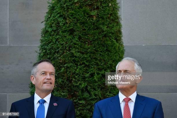 The Prime Minister of Australia Malcolm Turnbull and Bill Shorten the Leader of the Opposition attend the Last Post Ceremony at the Australian War...