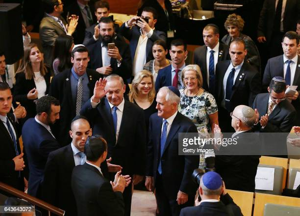 The Prime Minister of Australia Malcolm Turnbull and Israel Prime Minister Benjamin Netanyahu arrive at the Central Synagogue on February 22 2017 in...