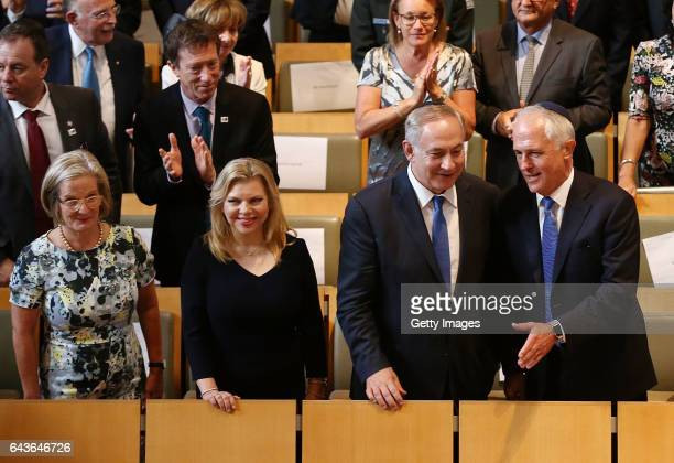 The Prime Minister of Australia Malcolm Turnbull and Israel Prime Minister Benjamin arrive at the Central Synagogue on February 22 2017 in Sydney...