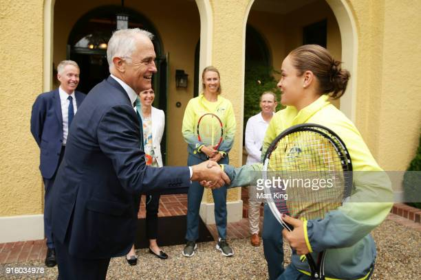 The Prime Minister of Australia Malcolm Turnbull greets Ashleigh Barty of Australia during a Prime Minister's reception at The Lodge ahead of the Fed...