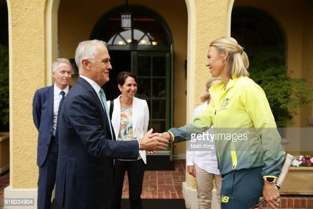 The Prime Minister of Australia Malcolm Turnbull greets Australia captain Alicia Molik during a Prime Minister's reception at The Lodge ahead of the...
