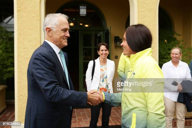 The Prime Minister of Australia Malcolm Turnbull greets Casey Dellacqua of Australia during a Prime Minister's reception at The Lodge ahead of the...