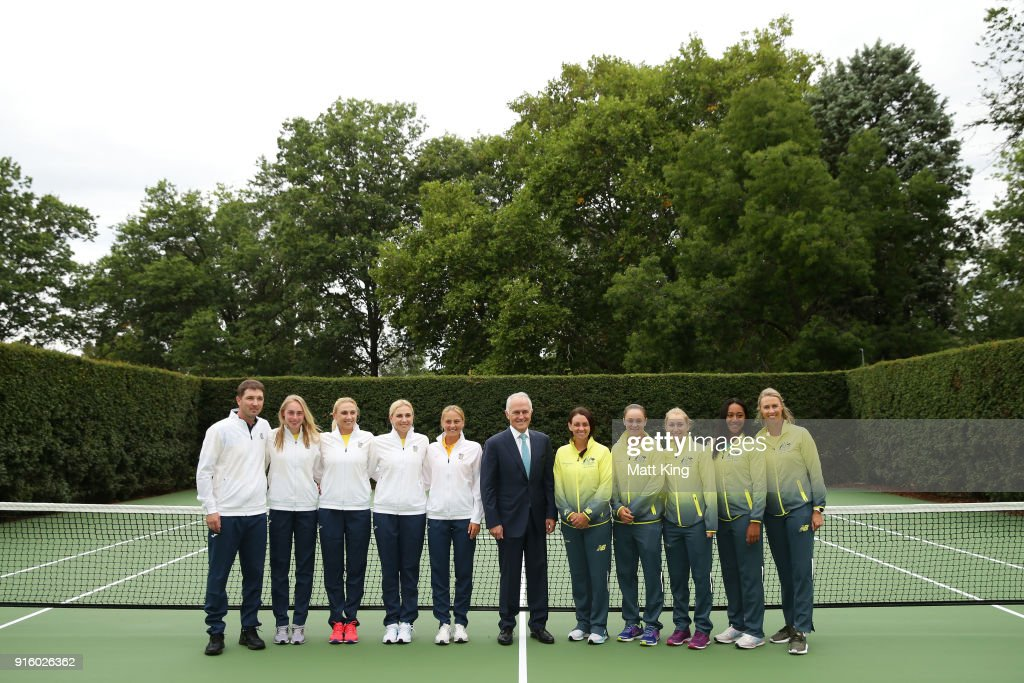 The Prime Minister of Australia Malcolm Turnbull poses with the Australia and Ukraine teams during a Prime Minister's reception at The Lodge ahead of the Fed Cup tie between Australia and the Ukraine on February 9, 2018 in Canberra, Australia.