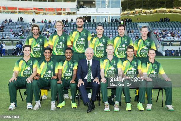 The Prime Minister of Australia Malcolm Turnbull poses with the PM's XI prior to the T20 warm up match between the Australian PM's XI and Sri Lanka...