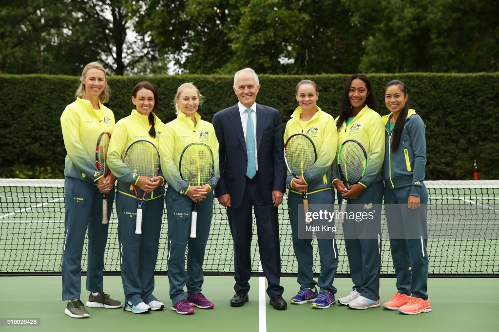 The Prime Minister of Australia Malcolm Turnbull poses with the Australian team during a Prime Minister's reception at The Lodge ahead of the Fed Cup tie between Australia and the Ukraine on February 9, 2018 in Canberra, Australia.