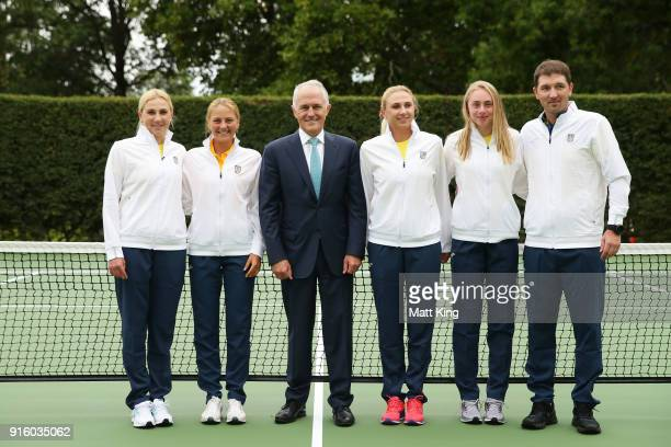 The Prime Minister of Australia Malcolm Turnbull poses with the Ukraine team during a Prime Minister's reception at The Lodge ahead of the Fed Cup...