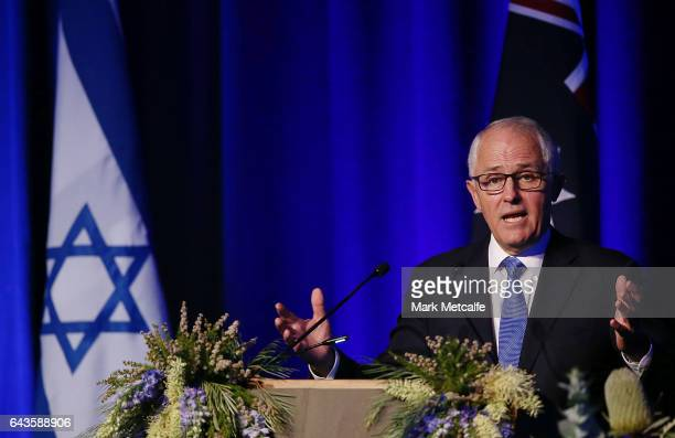 The Prime Minister of Australia Malcolm Turnbull speaks at a luncheon at Sydney International Convention Centre on February 22 2017 in Sydney...