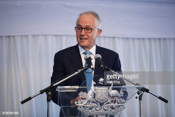 The Prime Minister of Australia Malcolm Turnbull speaks during a Prime Minister's reception at The Lodge ahead of the Fed Cup tie between Australia...
