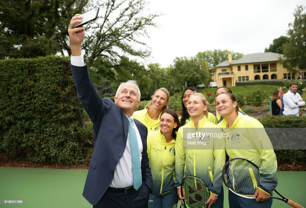 The Prime Minister of Australia Malcolm Turnbull takes a selfie with the Australian team during a Prime Minister's reception at The Lodge ahead of the Fed Cup tie between Australia and the Ukraine on February 9, 2018 in Canberra, Australia.