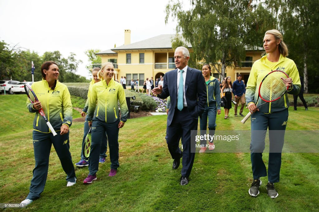The Prime Minister of Australia Malcolm Turnbull talks to (L-R) Casey Dellacqua and Daria Gavrilova of Australia and Australia captain Alicia Molik during a Prime Minister's reception at The Lodge ahead of the Fed Cup tie between Australia and the Ukraine on February 9, 2018 in Canberra, Australia.