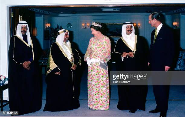 The Prime Minister Of Bahrain The Amir Of Bahrain Queen Elizabeth Ll The Heir Apparent And Prince Philip On Board Hmy Britannia For A Reception Given...