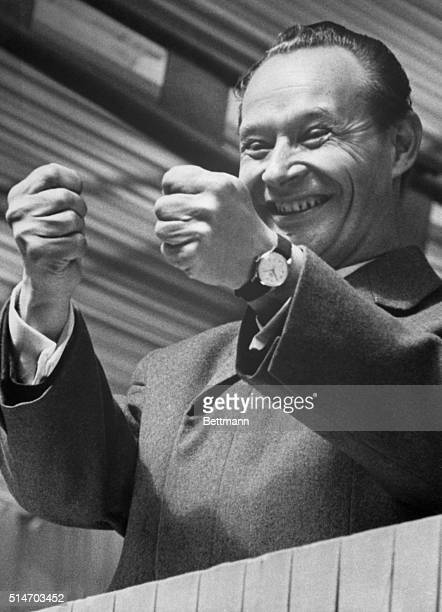 The Prime Minister of Czechoslovakia Alexandre Dubcek smiles as he speaks to the Communist Party leaders in Prague Dubcek tried to reform socialism...
