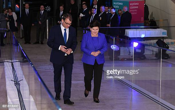 The Prime Minister of Finland Juha Sipila and the Prime Minister of Poland Beata Szydlo attend the exhibition Echoes 100 years in Finnish design and...