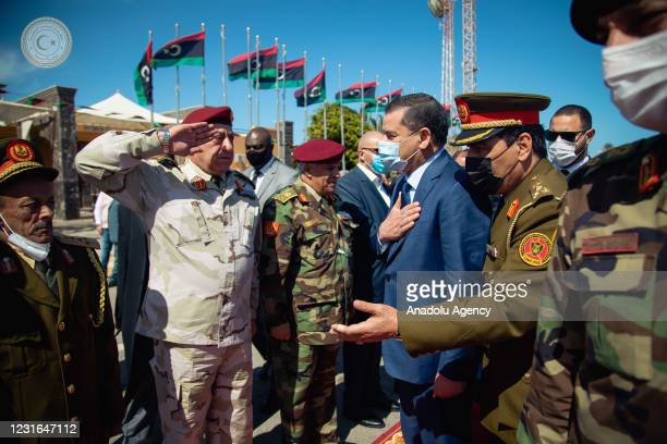 The Prime Minister of Government of National Unity, Abdul Hamid Dbeibeh is welcomed with an official ceremony upon his arrival to Tripoli, after...