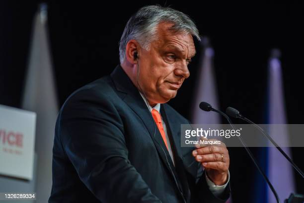 The Prime Minister of Hungary, Viktor Orban speaks at the press conference during a Heads of State meeting of the Visegrad group at International...