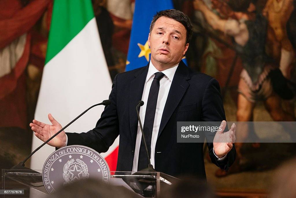 The Prime Minister of Italy Matteo Renzi speaks at Palazzo Chigi admitting his defeat in the referendum vote and promising to resign. December 5, 2016 Rome, Italy.