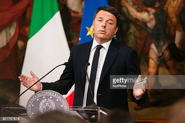 The Prime Minister of Italy Matteo Renzi speaks at Palazzo Chigi admitting his defeat in the referendum vote and promising to resign December 5 2016...
