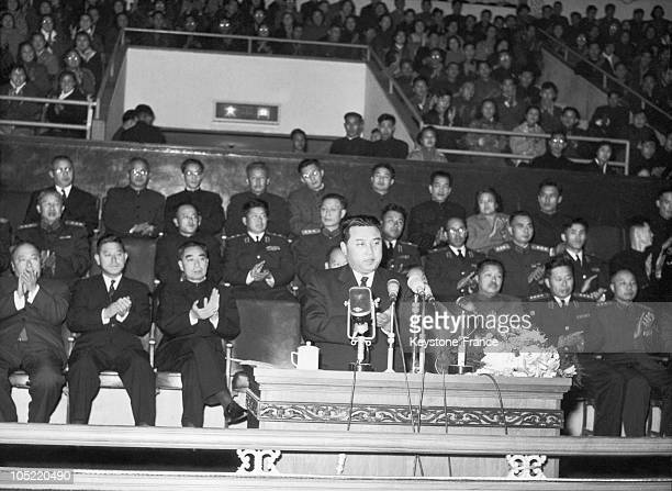 The Prime Minister Of North Korea Kim Il Sung Accompanied By A Governmental Delegation From The Democratic People'S Republic Giving A Speech Before A...