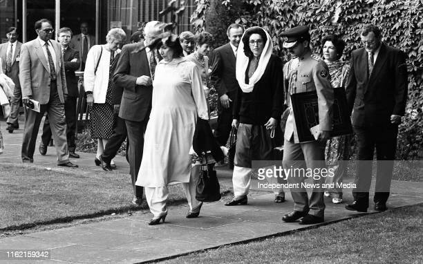 The Prime Minister of Pakistan Mohtarma Benazir Bhutto with her mother Begum Nusrat Bhutto as they tour the Chester Beatty Library in Ballsbridge...