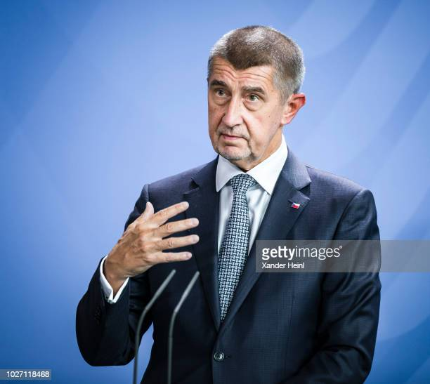 The Prime Minister of the Czech Republic Andrej Babis speaks at a press conference at the Chancellory on September 05 2018 in Berlin Germany