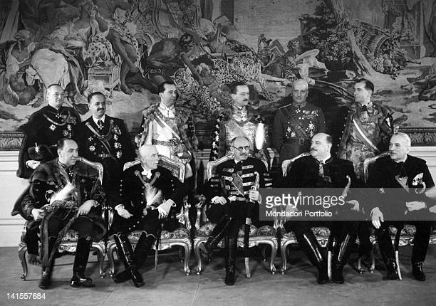 The Prime Minister of the Kingdom of Hungary, the geographer Pal Teleky, posing in full dress with Kunder Antal, Karl Bartha, Andor Jaross and other...