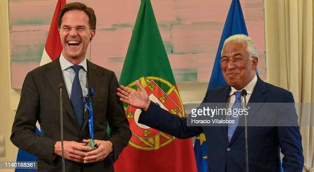 The Prime Minister of The Netherlands Mark Rutte and Portuguese Prime Minister Antonio Costa share a laugh during the joint press conference at the...